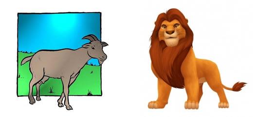 El León y la Cabra Fábulas de Esopo con sus Moralejas
