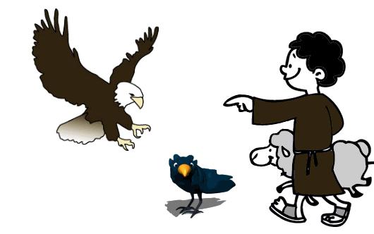 El águila el cuervo y el pastor Fábulas clásicas con Moralejas