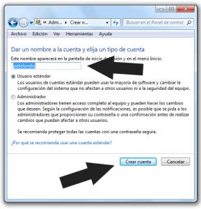 Como crear una nueva cuenta de usuario en Windows 7