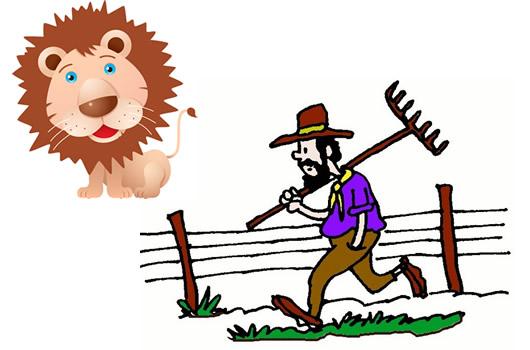 El león apresado por el labrador Fábulas clásica de Esopo con moraleja