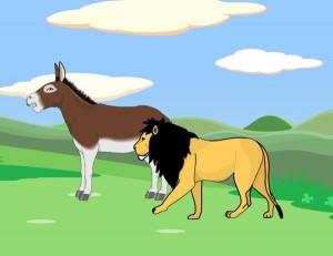 El león y el asno presuntuoso