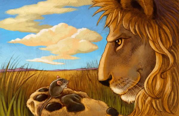El León y el Ratón Fábula de Esopo con Moraleja