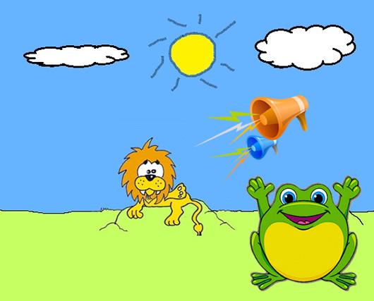 La rana gritona y el león Fábula Clásica de Esopo con moraleja