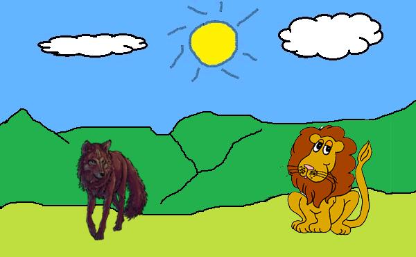 El lobo y el león. Fábula de Esopo con moraleja