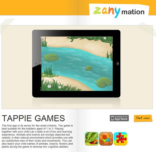 Juegos interactivos para niños en el iPad. Zanymation