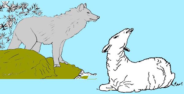 El lobo harto y la oveja. Fabulas clásicas de Esopo con Moraleja