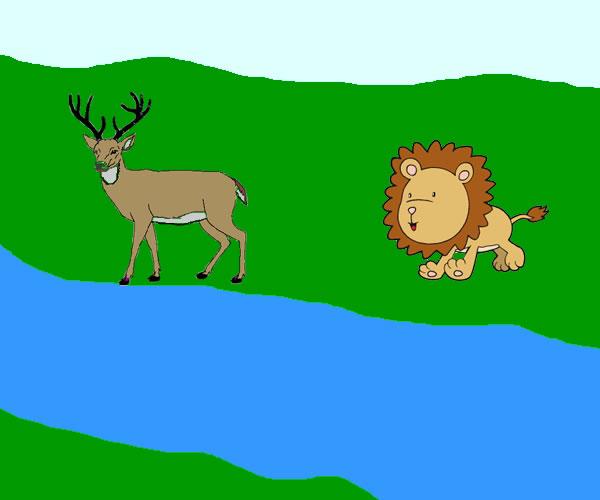 El ciervo, el manantial y el león. Fábula clásica de Esopo con moraleja