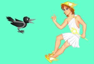 El cuervo y Hermes. Fábula clásica de Esopo con moraleja