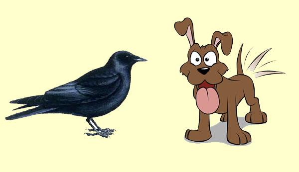 El perro y la corneja. Fábula clásica de Esopo con moraleja