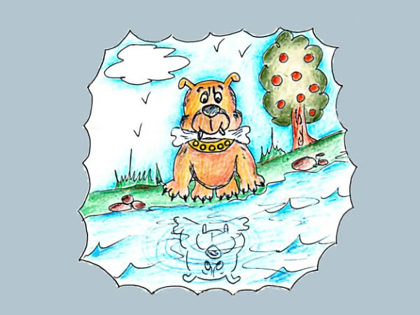 El perro y su reflejo en el río. Fábula de clásica de Esopo con Moraleja