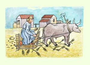 Los bueyes y el eje de la carreta. Fábula clásica de Esopo con moraleja