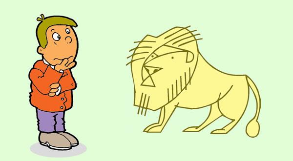 El hombre y el león de oro