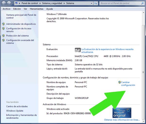 Cambiar el nombre del equipo y el grupo de trabajo de Windows 7