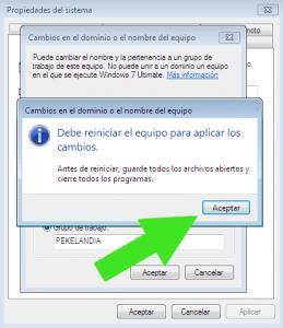 Pasos para cambiar el nombre del equipo y el grupo de trabajo de Windows 7